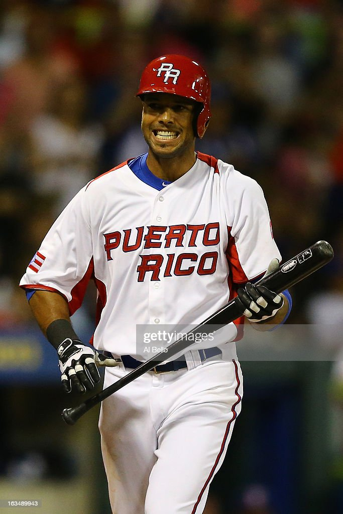 Alex Rios #51 of Puerto Rico reacts after striking out against the Dominican Republic during the first round of the World Baseball Classic at Hiram Bithorn Stadium on March 10, 2013 in San Juan, Puerto Rico.