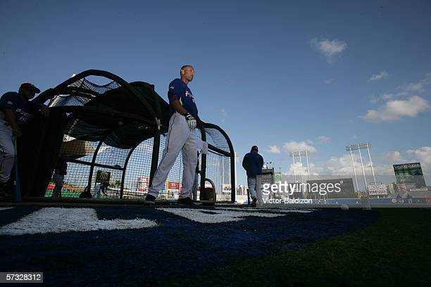 Alex Rios of Puerto Rico warms up before the game against Cuba on March 15 2006 at Hiram Bithorn Stadium in San Juan Puerto Rico Cuba defeated Puerto...