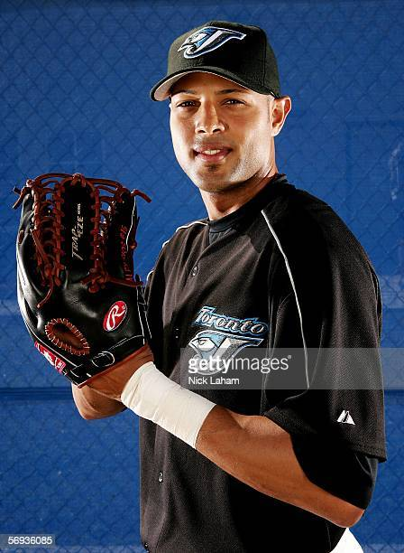 Alex Rios of the Blue Jays poses for a portrait during the Toronto Blue Jays Photo Day on February 25 2006 at the Bobby Mattick Training Center in...