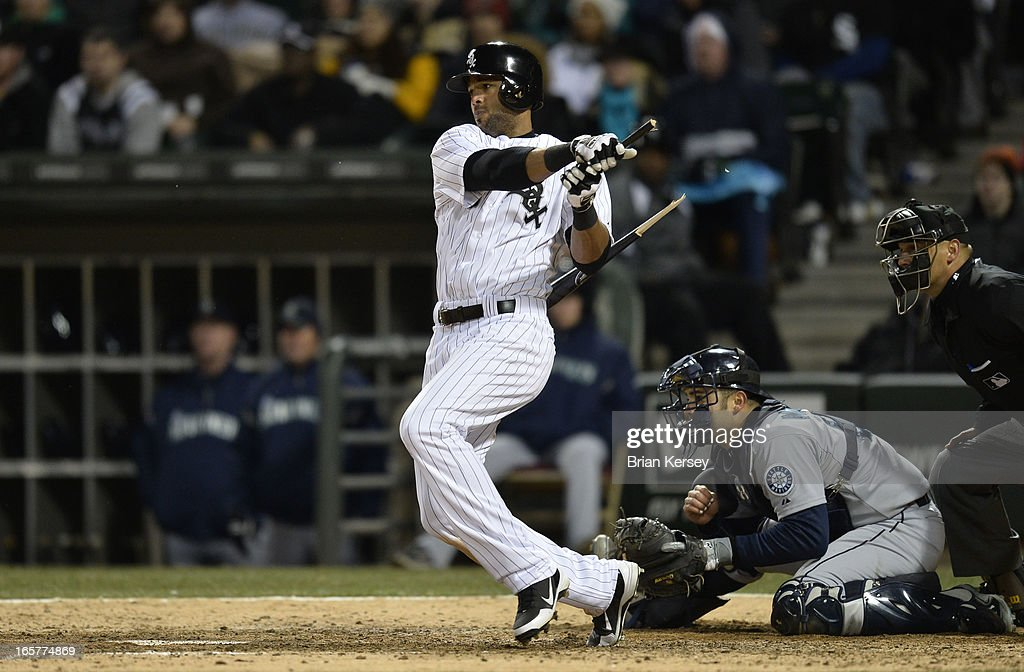 Alex Rios #51 of the Chicago White Sox breaks his bat as he grounds out during the seventh inning against the Seattle Mariners on April 5, 2012 at U.S. Cellular Field in Chicago, Illinois. Teammate Gordon Beckham #15 of the Chicago White Sox scored on the play to tie the game.