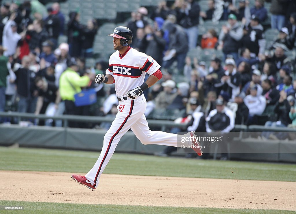 Alex Rios #51 of the Chicago White Sox runs the bases after hitting a home-run against the Seattle Mariners in the seventh inning on April 7, 2013 at U.S. Cellular Field in Chicago, Illinois.