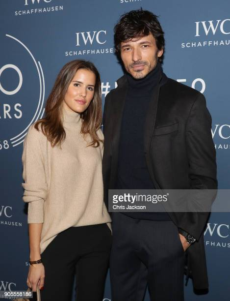Alex Riviere and Andres Velencoso visit the IWC booth during the Maison's launch of its Jubilee Collection at the Salon International de la Haute...