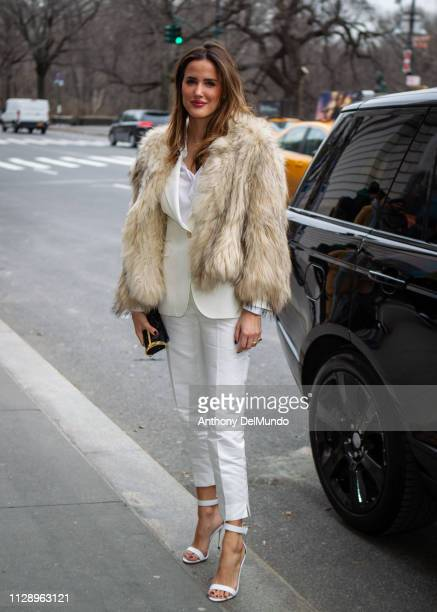 Alex Rivière poses as she attends Carolina Herrera fall 2019 runway show during New York Fashion Week held at New York Historical Society 170 Central...