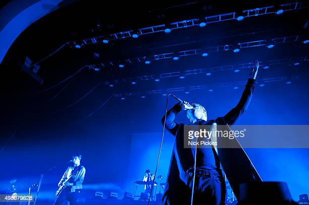 Alex Robertshaw and Jonathan Higgs of Everything Everything perform at O2 Academy Brixton on November 20 2015 in London England