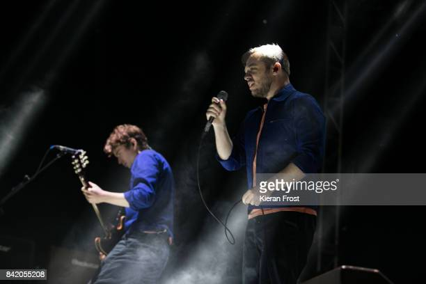 Alex Robertshaw and Jonathan Higgs of Everything Everything perform at Electric Picnic Festival at Stradbally Hall Estate on September 2 2017 in...