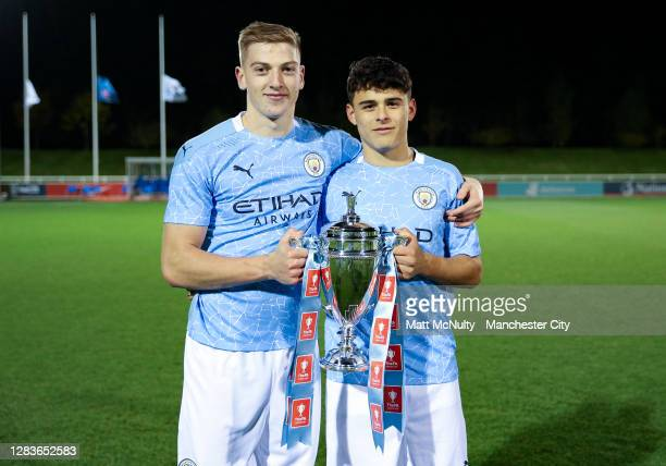 Alex Robertson and Liam Delap of Manchester City celebrate during the FA Youth Cup Final match between Manchester City and Chelsea at St Georges Park...