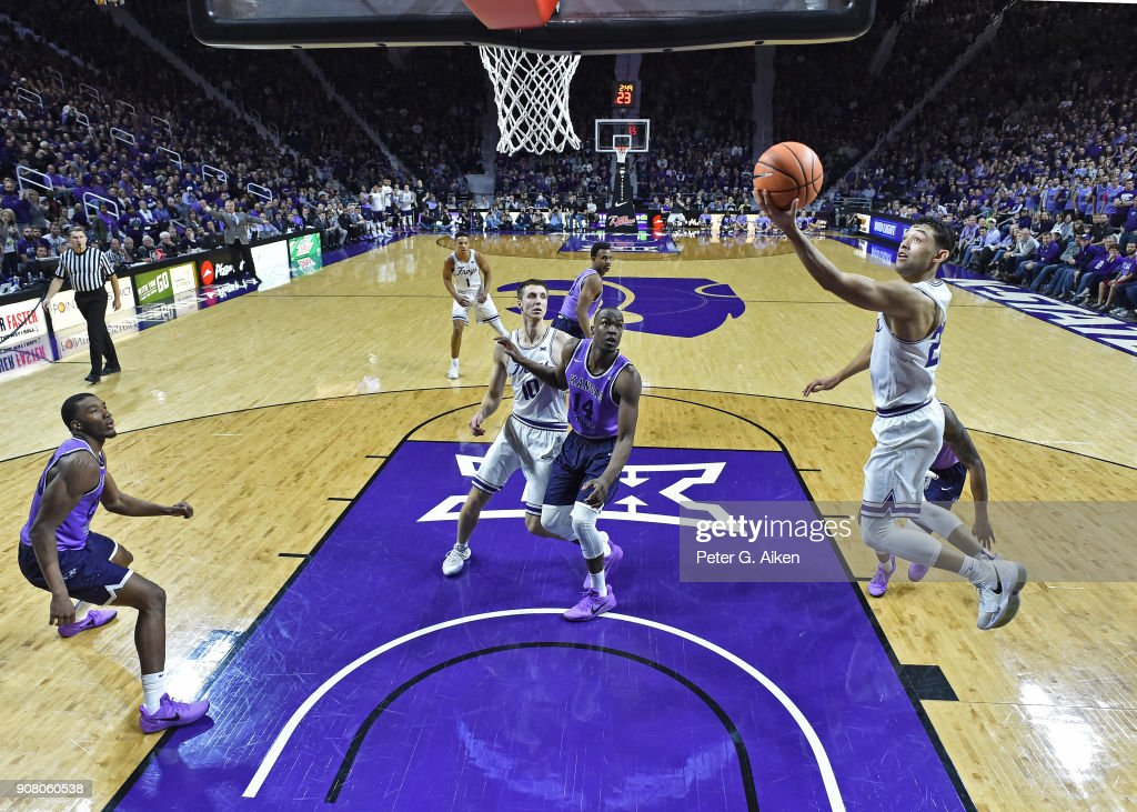 Alex Robinson #25 of the TCU Horned Frogs drives in for a basket against the Kansas State Wildcats during the second half on January 20, 2018 at Bramlage Coliseum in Manhattan, Kansas.