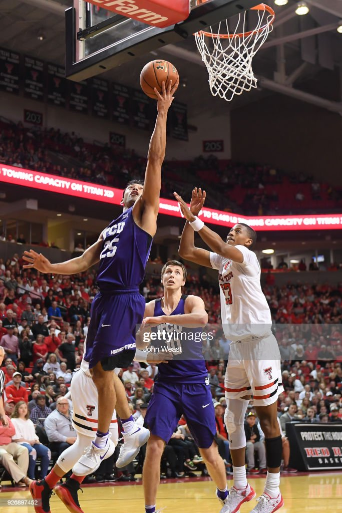 Alex Robinson #25 of the TCU Horned Frogs goes to the basket for a lay up during the second half of the game against the Texas Tech Red Raiders on March 3, 2018 at United Supermarket Arena in Lubbock, Texas. Texas Tech defeated TCU