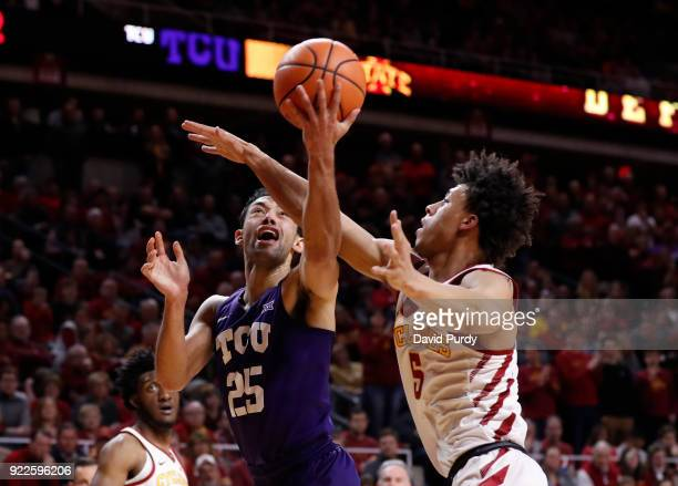 Alex Robinson of the TCU Horned Frogs goes up for a shot against Lindell Wigginton of the Iowa State Cyclones in the second half of play at Hilton...