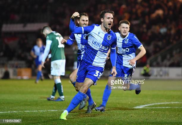 Alex Rodman of Bristol Rovers celebrates after scoreing his side's first goal during the FA Cup Second Round Replay between Plymouth Argyle and...