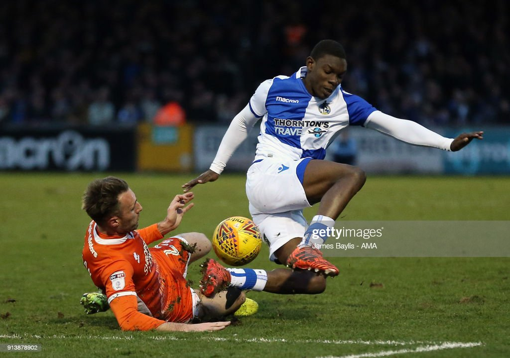 Alex Rodman of Shrewsbury Town and Bernard Mensah of Bristol Rovers during the Sky Bet League One match between Bristol Rovers and Shrewsbury Town at Memorial Stadium on February 3, 2018 in Bristol, England.