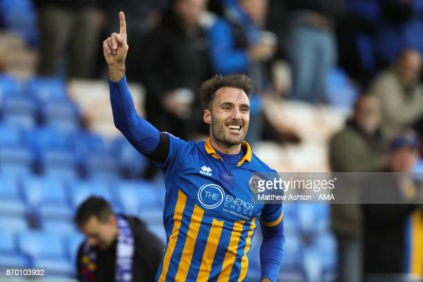 Alex Rodman of Shrewsbury Town celebrates after scoring a goal to make it 10 during the Emirates FA Cup First Round fixture between Shrewsbury Town...