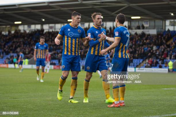 Alex Rodman of Shrewsbury Town celebrates after scoring a goal to make it 10during the Emirates FA Cup march between Shrewsbury Town and Morecombe at...