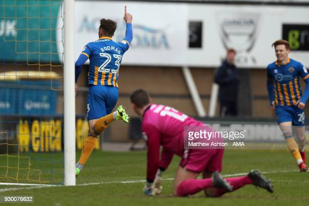 Alex Rodman of Shrewsbury Town celebrates after scoring a goal to make it 10 during the Sky Bet League One match between Shrewsbury Town and Walsall...
