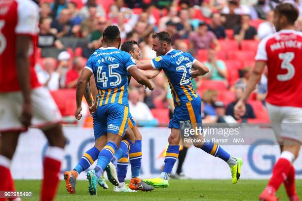Alex Rodman of Shrewsbury Town celebrates after scoring a goal to make it 11 during the Sky Bet League One Play Off Final between Rotherham United...