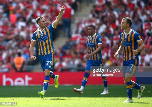 Alex Rodman of Shrewsbury Town celebrates after scoring his sides first goal during the Sky Bet League One Play Off Final between Rotherham United...