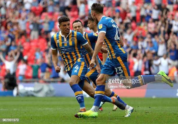 Alex Rodman of Shrewsbury Town celebrates after scoring his sides first goal with Ben Godfrey of Shrewsbury Town during the Sky Bet League One Play...