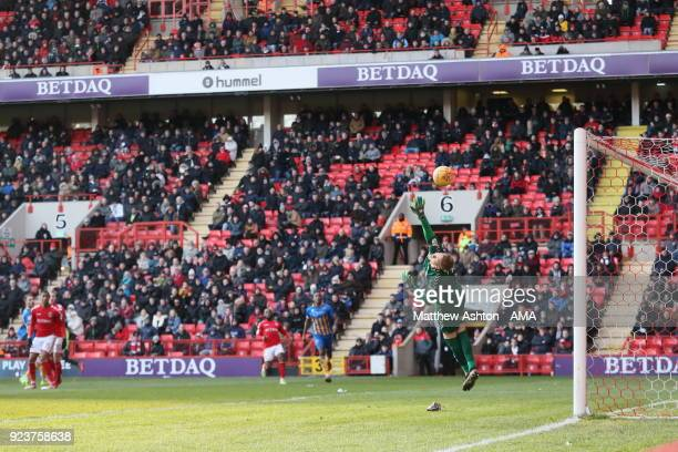 Alex Rodman of Shrewsbury Town scores a goal to make it 01 during the Sky Bet League One match between Charlton Athletic and Shrewsbury Town at The...