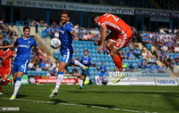 Alex Rodman of Shrewsbury Town scores a goal to make it 02 during the Sky Bet League One match between Gillingham and Shrewsbury Town at Priestfield...