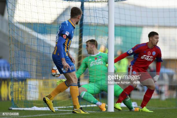 Alex Rodman of Shrewsbury Town scores a goal to make it 10 during the Emirates FA Cup First Round fixture between Shrewsbury Town and Aldershot Town...
