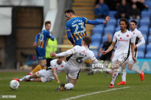 Alex Rodman of Shrewsbury Town scores a goal to make it 10 during the Sky Bet League One match between Shrewsbury Town and Walsall at New Meadow on...