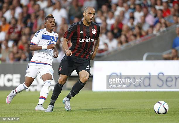 Alex Rodrigo Dias da Costa of AC Milan in action during the friendly match between Olympique Lyonnais and AC Milan at Stade de Gerland on July 18...
