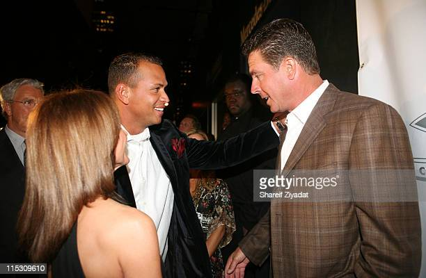 Alex Rodriguez and Dan Marino during Alex Rodriguez and Jay Z Celebrity Poker Tournament Inside at 40/40 Club in New York United States