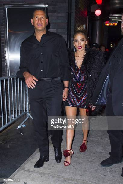 Alex Rodriguez and Jennifer Lopez are seen at the Balmain after party at Boom Boom Room at the Standard Hotel at on May 7 2018 in New York City
