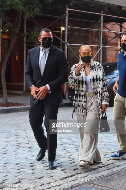 Alex Rodriguez and Jennifer Lopez are seen in Manhattan on September 8 2020 in New York City