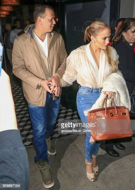 Alex Rodriguez and Jennifer Lopez are seen on March 08 2018 in Los Angeles California