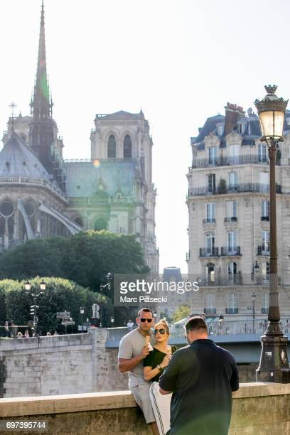 Alex Rodriguez and Jennifer Lopez are sighted on the 'Ile Saint Louis' near NotreDameDeParis cathedral on June 18 2017 in Paris France