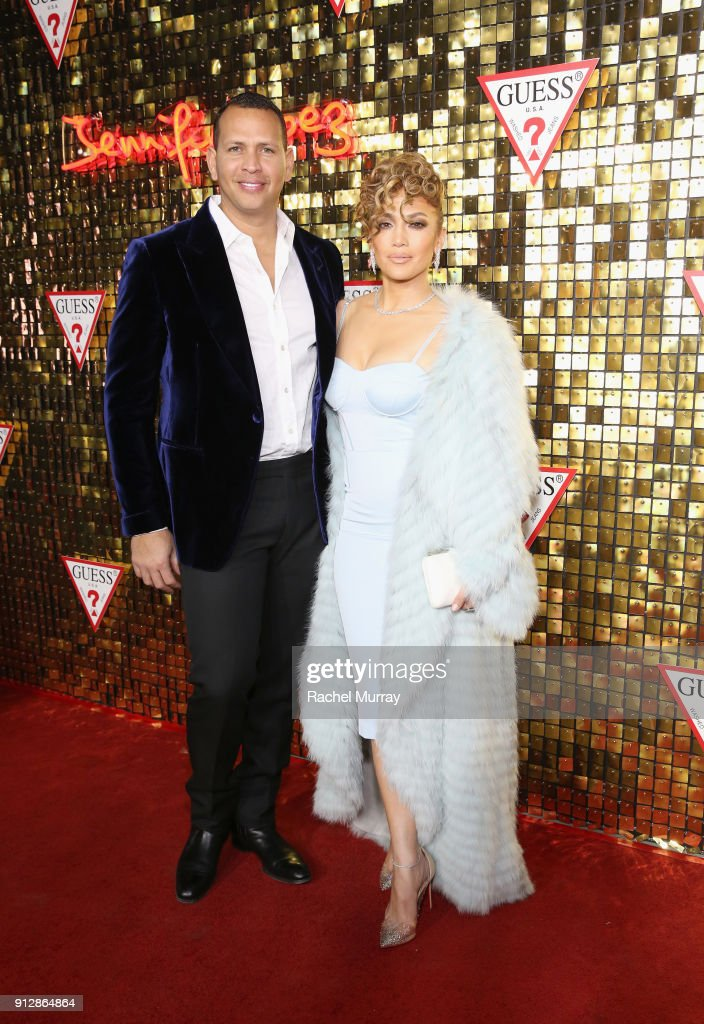 Alex Rodriguez and Jennifer Lopez at the Guess Spring 2018 Campaign Reveal starring Jennifer Lopez on January 31, 2018 in Los Angeles, California.