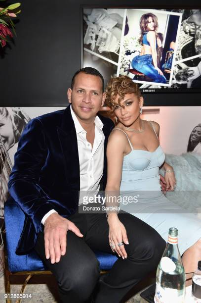 Alex Rodriguez and Jennifer Lopez at the Guess Spring 2018 Campaign Reveal starring Jennifer Lopez on January 31 2018 in Los Angeles California