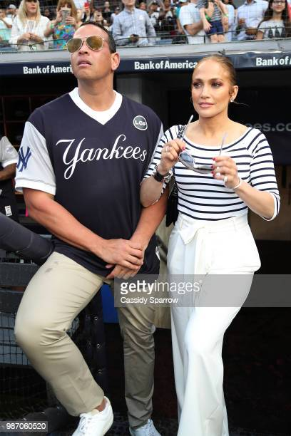 Alex Rodriguez and Jennifer Lopez attend CC Sabathia's PitCChIn Foundation Celebrity Softball Game at Yankee Stadium on June 28 2018 in New York City