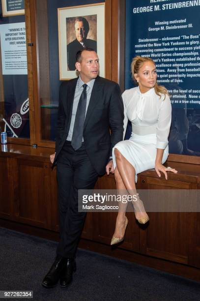 Alex Rodriguez and Jennifer Lopez attend 'Project Destined' Yankees Shark Tank Presentations at Yankee Stadium on March 4 2018 in New York City