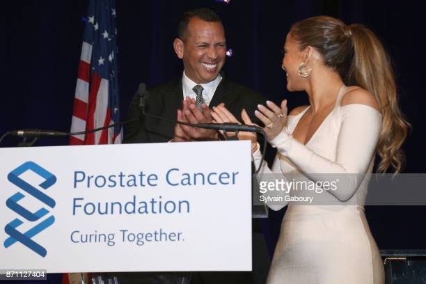 Alex Rodriguez and Jennifer Lopez attend Prostate Cancer Foundation Presents the 2017 New York Dinner on November 6 2017 in New York City