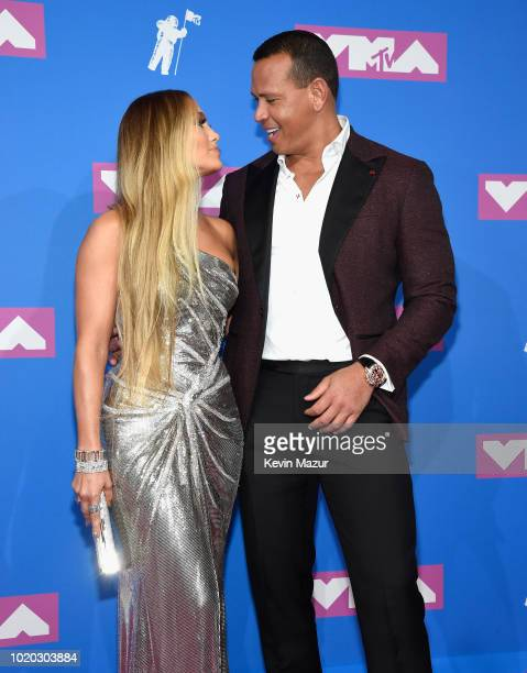 Alex Rodriguez and Jennifer Lopez attend the 2018 MTV Video Music Awards at Radio City Music Hall on August 20 2018 in New York City