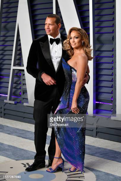 Alex Rodriguez and Jennifer Lopez attend the 2019 Vanity Fair Oscar Party hosted by Radhika Jones at Wallis Annenberg Center for the Performing Arts...