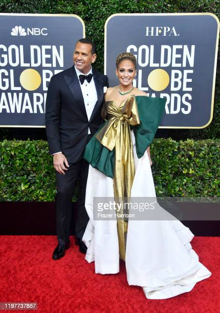 Alex Rodriguez and Jennifer Lopez attend the 77th Annual Golden Globe Awards at The Beverly Hilton Hotel on January 05, 2020 in Beverly Hills,...