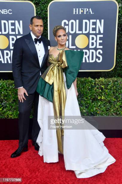 Alex Rodriguez and Jennifer Lopez attend the 77th Annual Golden Globe Awards at The Beverly Hilton Hotel on January 05 2020 in Beverly Hills...