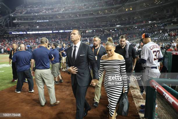 Alex Rodriguez and Jennifer Lopez attend the 89th MLB AllStar Game presented by Mastercard at Nationals Park on July 17 2018 in Washington DC