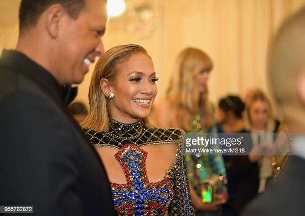 Alex Rodriguez and Jennifer Lopez attend the Heavenly Bodies Fashion The Catholic Imagination Costume Institute Gala at The Metropolitan Museum of...