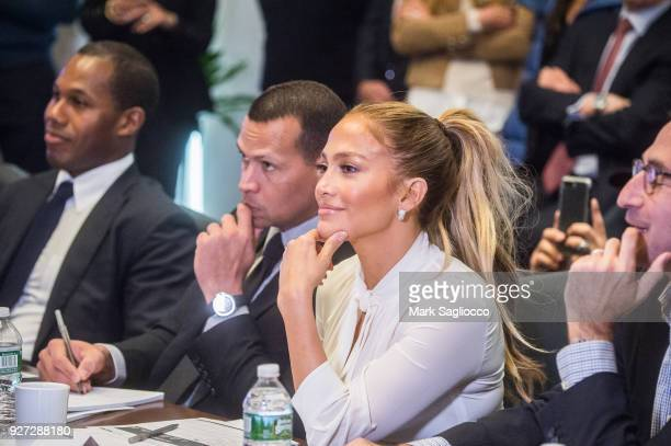 Alex Rodriguez and Jennifer Lopez attend the 'Project Destined' Yankees Shark Tank Presentations at Yankee Stadium on March 4 2018 in New York City