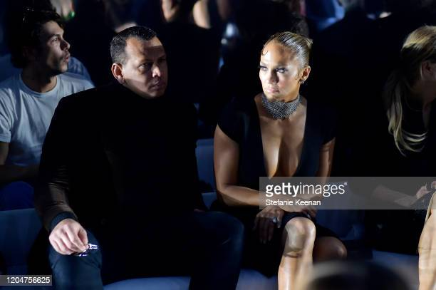 Alex Rodriguez and Jennifer Lopez attend Tom Ford: Autumn/Winter 2020 Runway Show at Milk Studios on February 07, 2020 in Los Angeles, California.