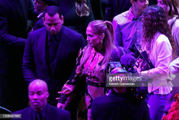 Alex Rodriguez and Jennifer Lopez depart after The Celebration of Life for Kobe & Gianna Bryant at Staples Center on February 24, 2020 in Los...
