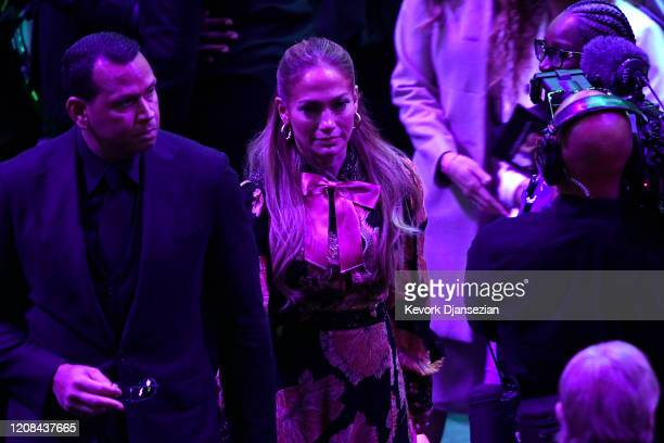 Alex Rodriguez and Jennifer Lopez depart after The Celebration of Life for Kobe Gianna Bryant at Staples Center on February 24 2020 in Los Angeles...