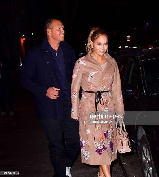 Alex Rodriguez and Jennifer Lopez leave Carbone on May 8 2017 in New York City