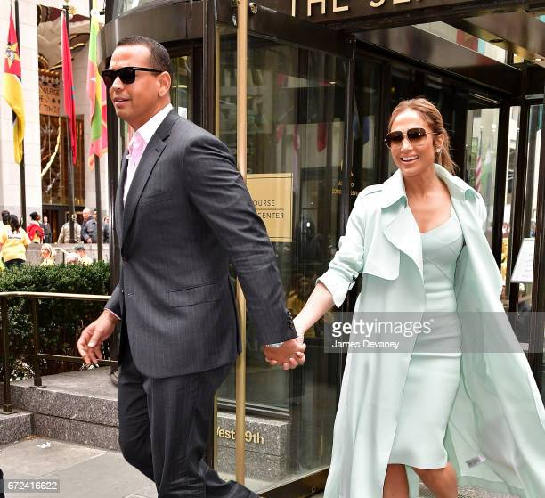 Alex Rodriguez and Jennifer Lopez leave The Sea Grill on April 24 2017 in New York City
