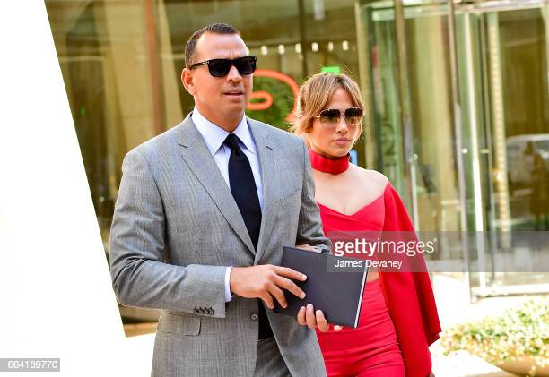 Alex Rodriguez and Jennifer Lopez leave the Solow Building on April 3 2017 in New York City