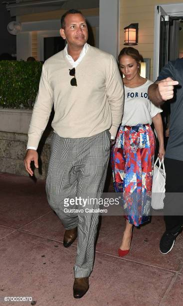 Alex Rodriguez and Jennifer Lopez leaving Prime 112 Steakhouse aftre dinner on April 18 2017 in Miami Florida